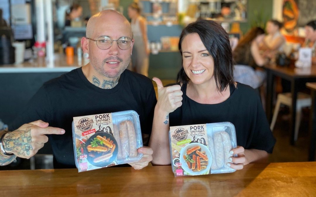SunPork Fresh Foods teams up with MKR's 'Sausage King and Queen' Dan and Steph to release two new gourmet sausages into Coles.