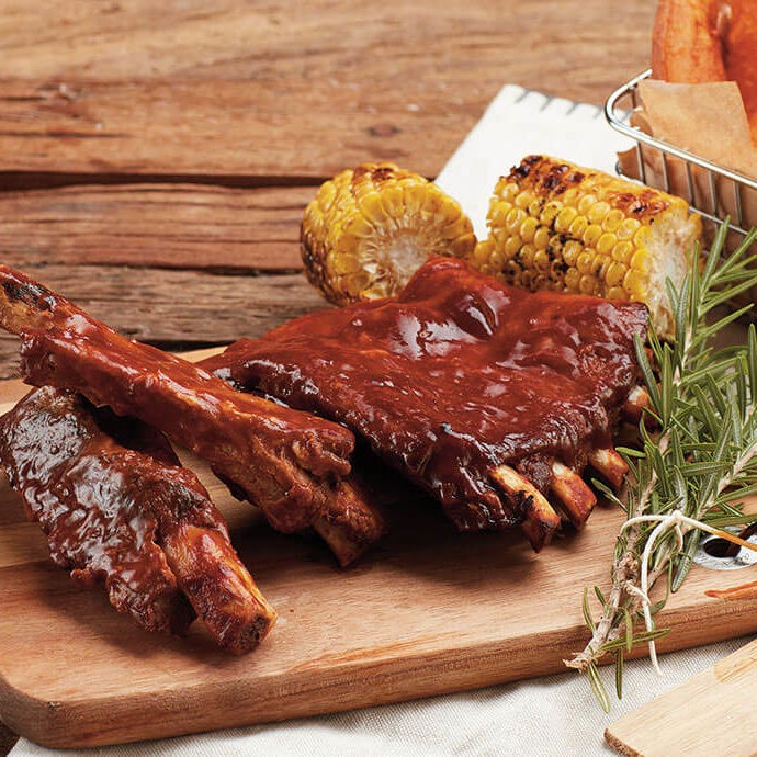 BBQ Pork Ribs with grilled corn and sweet potato wedges - Three Aussie Farmers Sweet and Spicy BBQ Pork Ribs