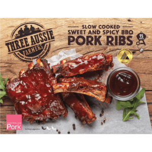Three Aussie Farmers Slow Cooked Sweet and Spicy BBQ Pork Ribs