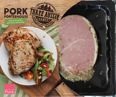 Three Aussie Farmers Pork Porterhouse with Tasty Garlic and Chive Seasoning