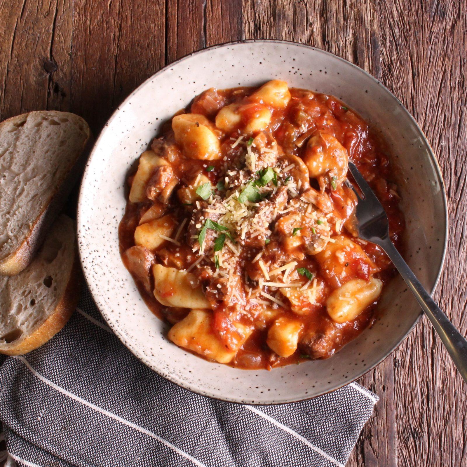 Potato Gnocchi with Pork and Wild Mushroom Ragu