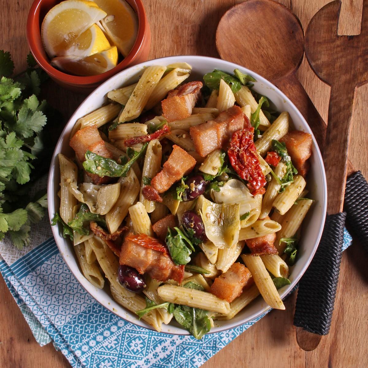 Mediterranean Pork Pasta Salad - SunPork Pork Belly
