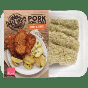 Three Aussie Farmers Lightly Seasoned Pork Schnitzel