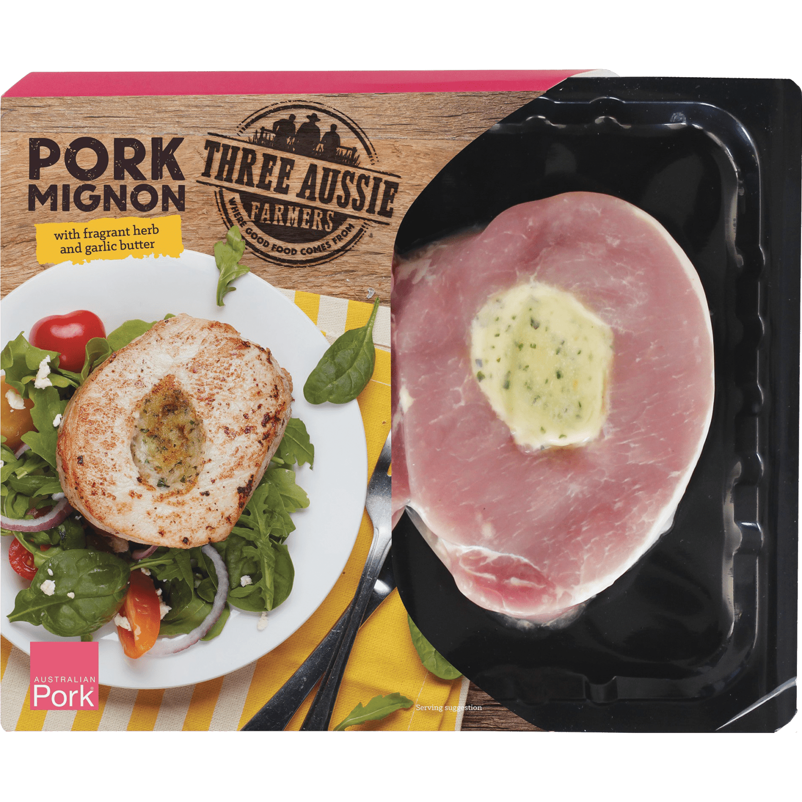 Three Aussie Farmers Pork Mignon with Fragrant Herb and Garlic Butter
