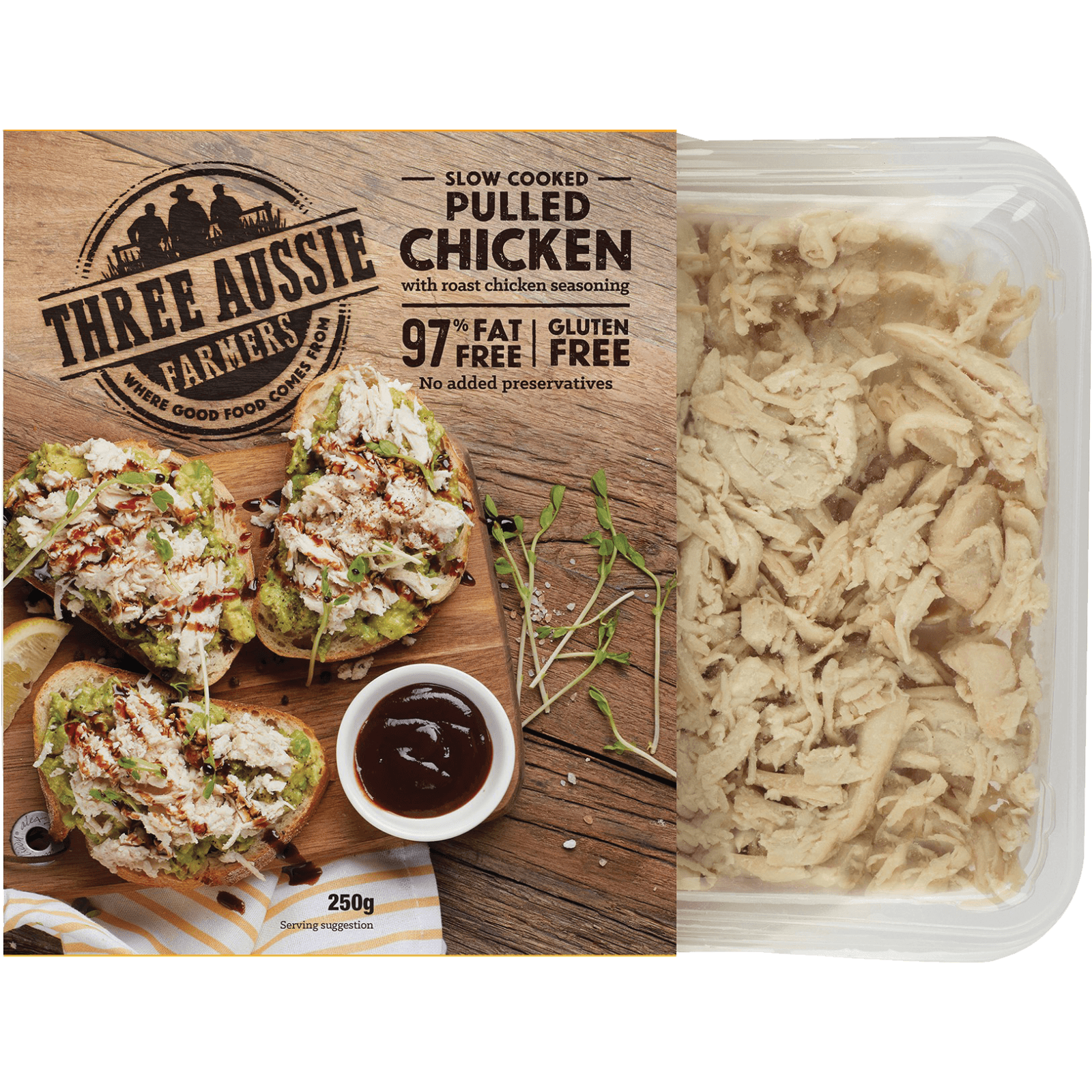 Three Aussie Farmers Slow Cooked Pulled Chicken