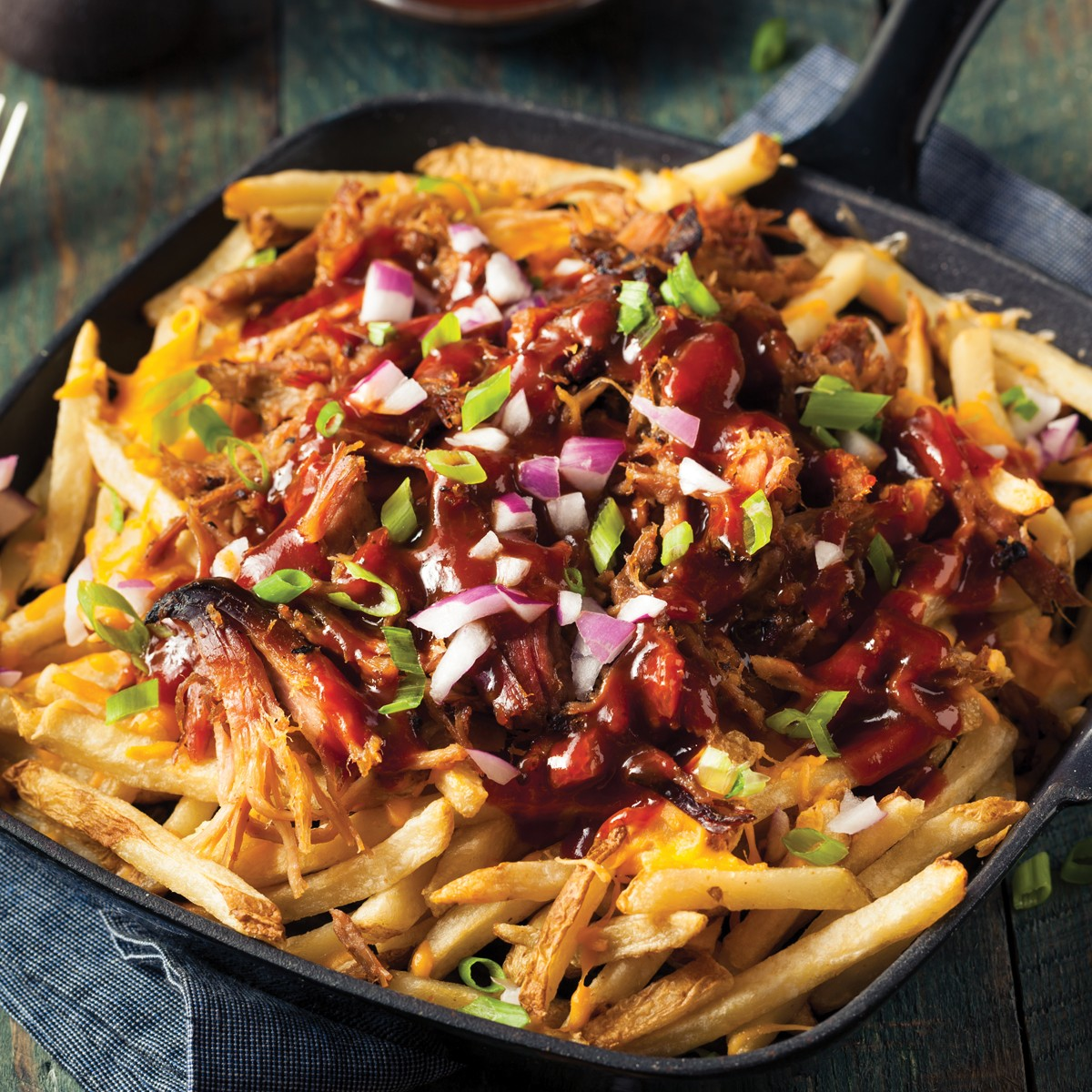 Pulled Pork Loaded Fries - Three Aussie Farmers Slow Cooked BBQ Pulled Pork