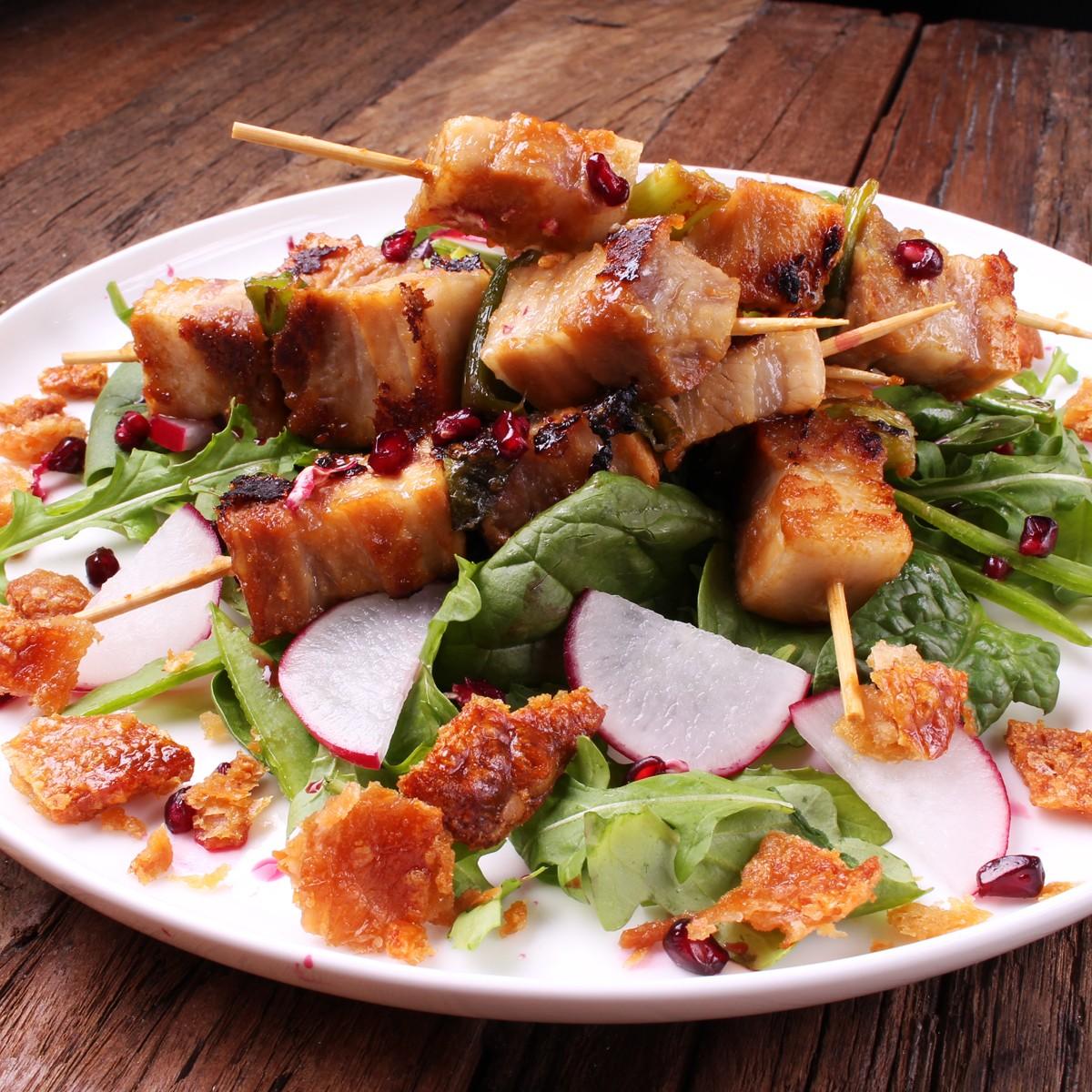 Boozy Miso Pork Belly Skewers - Three Aussie Farmers Slow Cooked Pork Belly