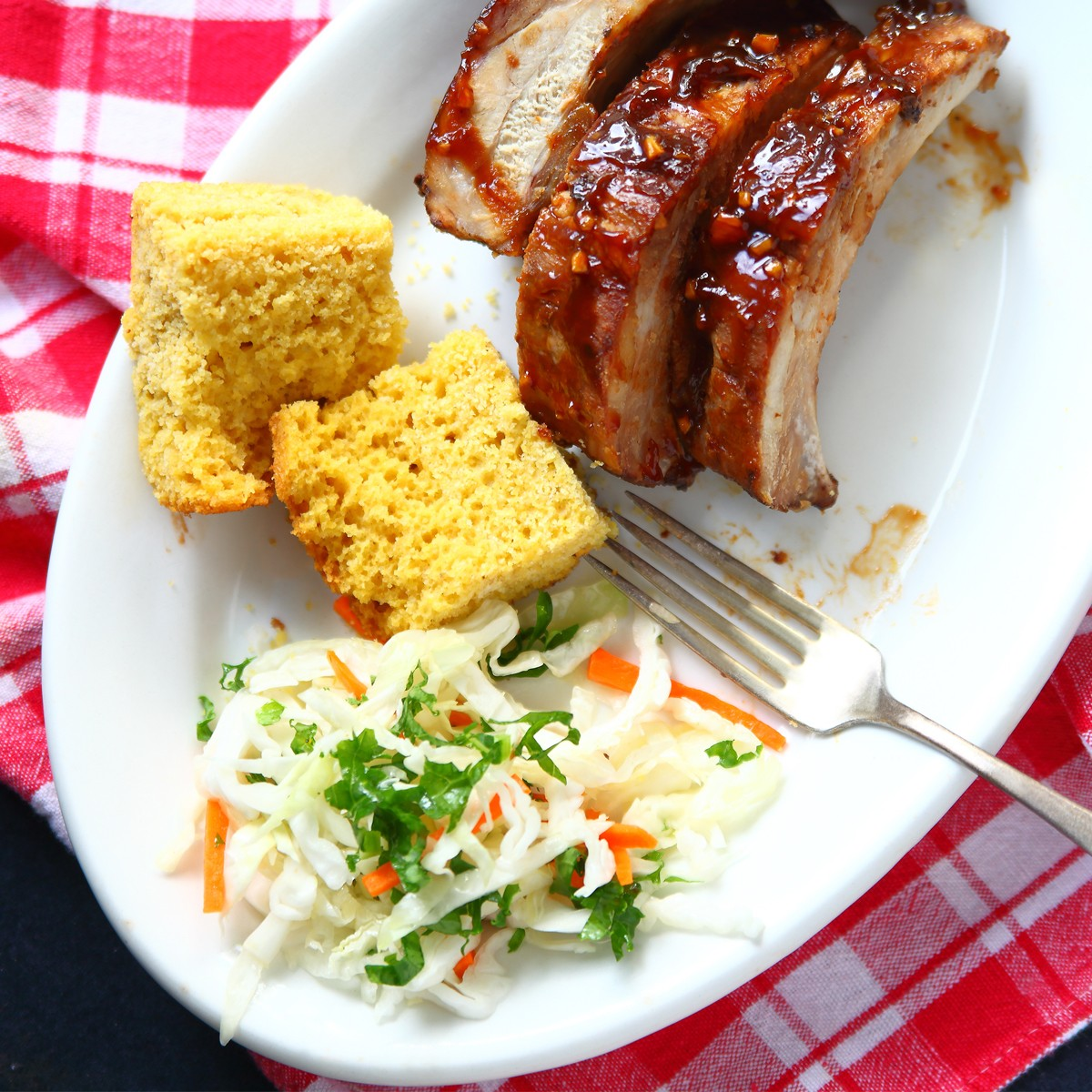 Sweet and Spicy BBQ Ribs with homemade cornbread - Three Aussie Farmers Sweet and Spicy BBQ Pork Ribs
