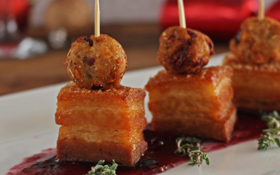 Pork Belly and Stuffing Bites