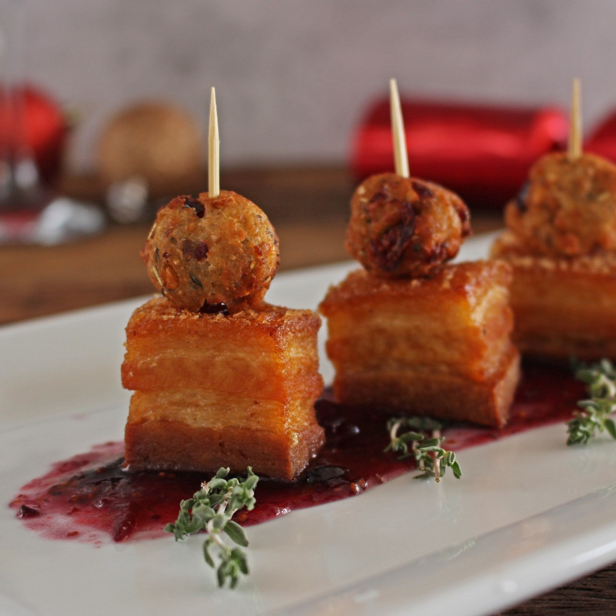Pork Belly and Stuffing Bites - Three Aussie Farmers Pork Belly