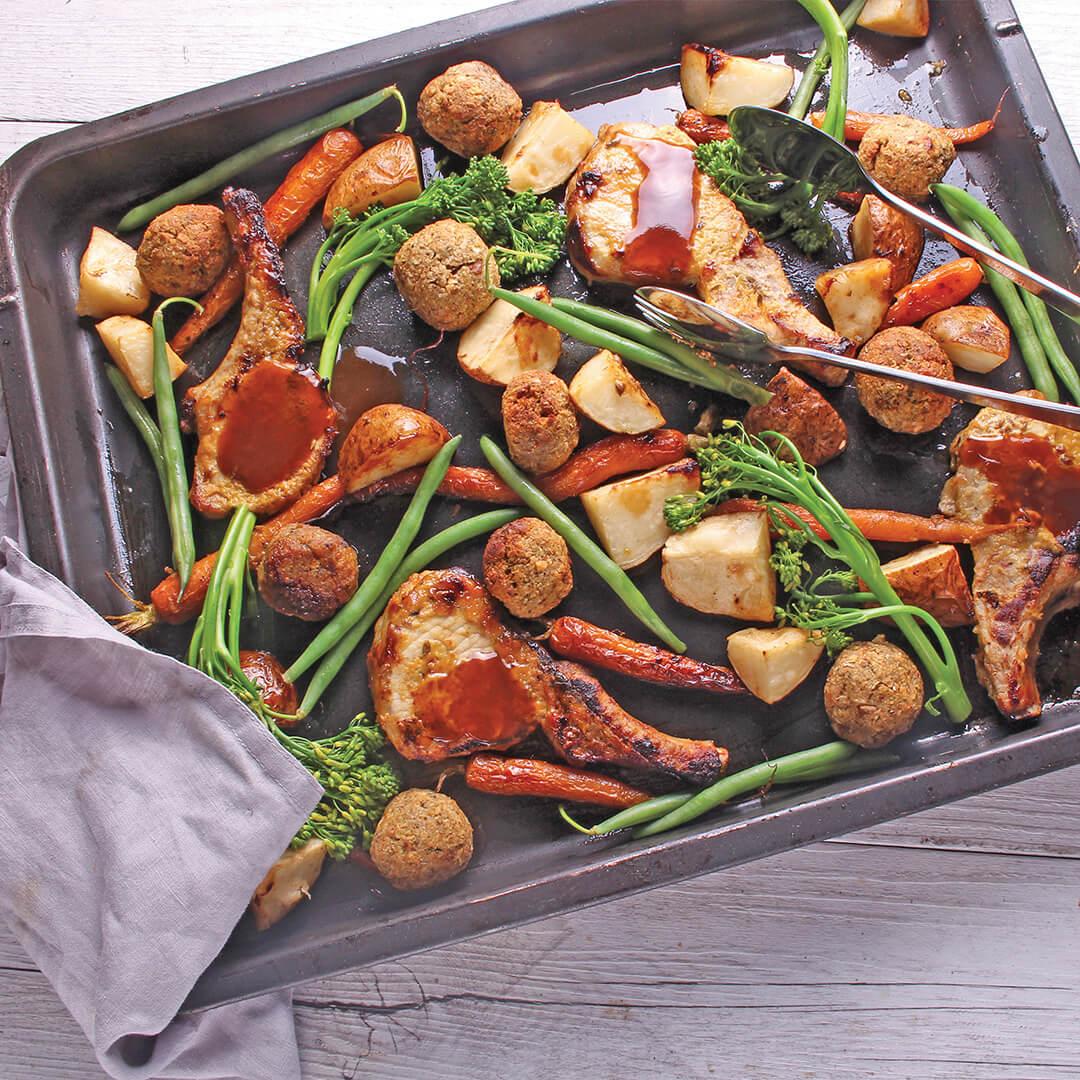 Honey Mustard Pork Cutlets with Roast Veg and Stuffing Balls - Pork Chops