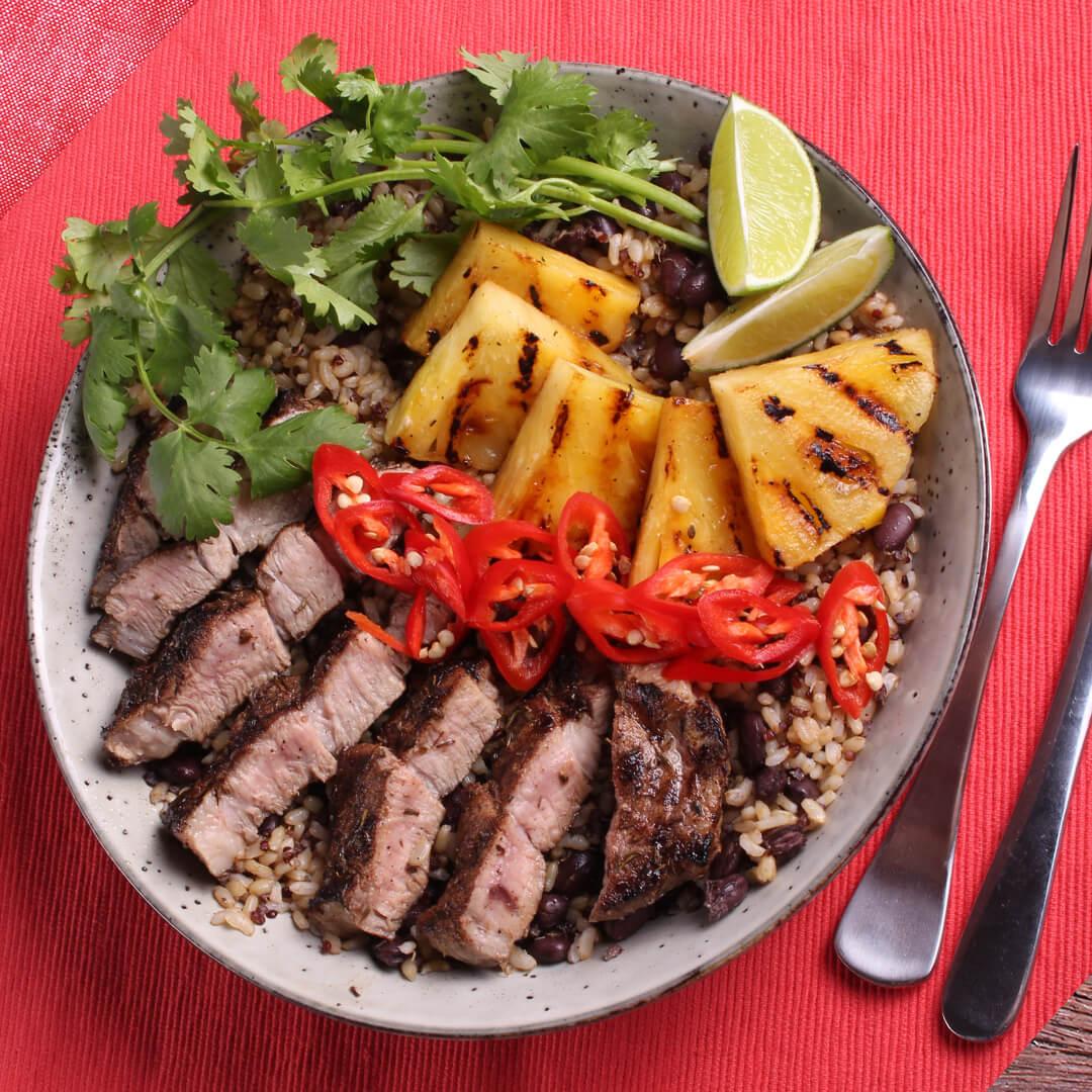 jerk pork salad - pork leg steaks