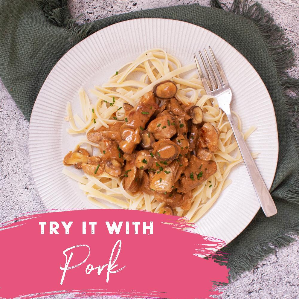 pork stroganoff try it with pork - tenderloin