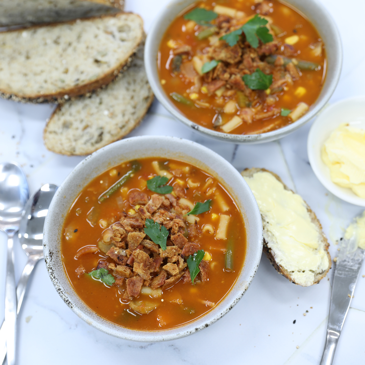 Bacon Minestrone Soup with Pork Crackle Crumb