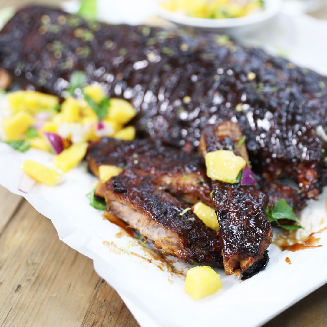 Ribs-with-Pineapple-Salsa - Pork Spare Ribs