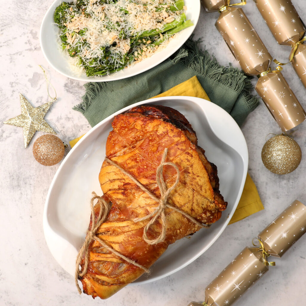 Pork Shoulder Roast with Red Sherry Broccolini